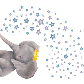 "27""x18"" Baby Elephant with Stars / 4 to 1 Yard of Minky"