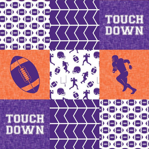 touch down - football wholecloth - purple and orange - college ball -  chevron