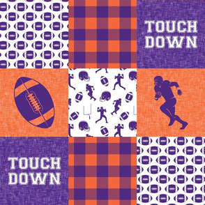 touch down - football wholecloth - purple and orange - college ball -  plaid