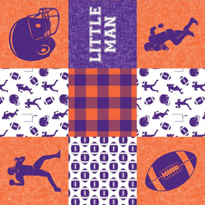 Little Man - Football Wholecloth - Purple and Orange (90)
