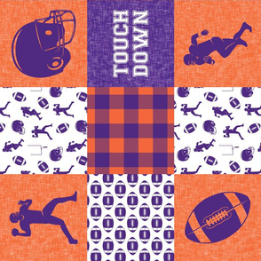 touch down - football wholecloth - purple and orange - college ball -  plaid (90)