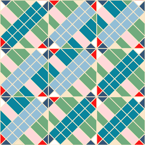 1960's Retro Inspired Plaid Pants in Blue, Green, Red fabric by amborela on Spoonflower - custom fabric