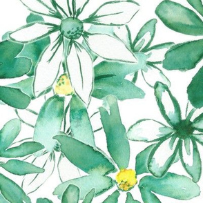 Green Watercolor Floral