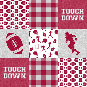 touch down - football wholecloth - crimson and white - college ball -  plaid