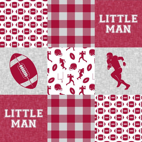 little man - football wholecloth - crimson and white - college ball -  plaid