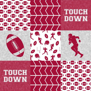 touch down - football wholecloth - crimson and white - college ball -  chevron