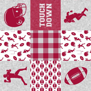 touch down - football wholecloth - crimson and white - college ball -  plaid (90)