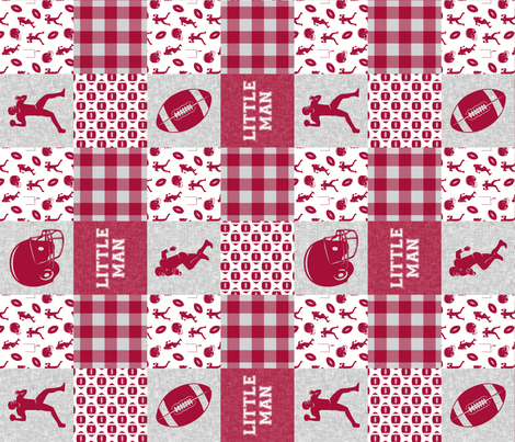 little man - football wholecloth - crimson and white - college ball -  plaid (90) fabric by littlearrowdesign on Spoonflower - custom fabric