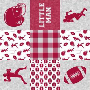 little man - football wholecloth - crimson and white - college ball -  plaid (90)