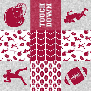 touch down - football wholecloth - crimson and white - college ball -  chevron (90)