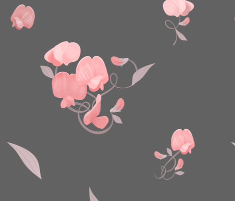 Sweet Peas (Blush on Grey) fabric by thimblekin on Spoonflower - custom fabric