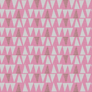 pink triangles-small scale-fanciful fifties flowers coordinate bark cloth