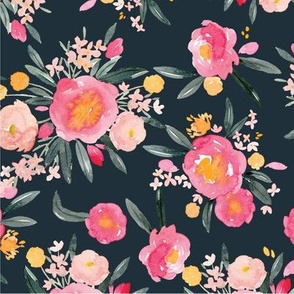 Pink Peonies on Navy