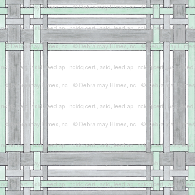 Gray and Green Picture Frame Plaid