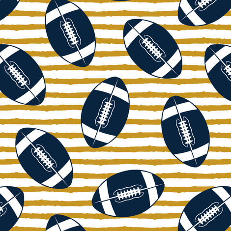 college football (blue and gold) fabric by littlearrowdesign on Spoonflower - custom fabric