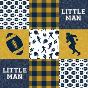 little man - football wholecloth - gold and blue - college ball -  plaid