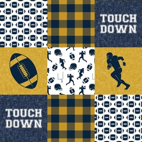 touch down - football wholecloth - gold and blue - college ball -  plaid