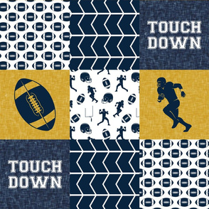 touch down - football wholecloth - gold and blue - college ball -  chevron