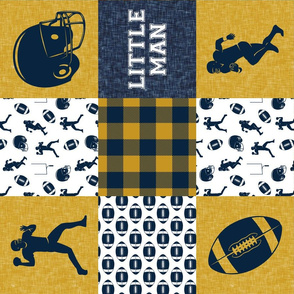 little man - football wholecloth - gold and blue - college ball -  plaid (90)