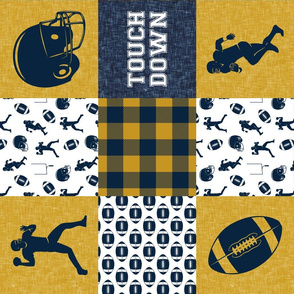 touch down - football wholecloth - gold and blue - college ball -  plaid (90)