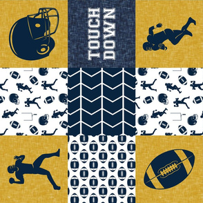 touch down - football wholecloth - gold and blue - college ball -  chevron (90)