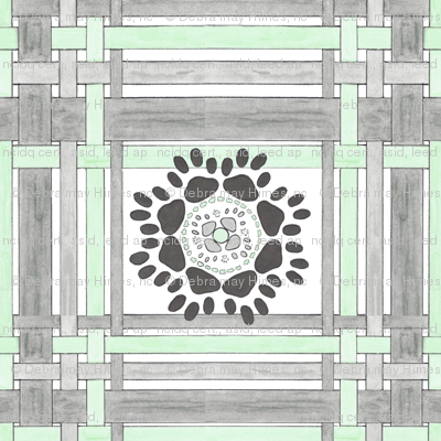 Gray and Green plaid with medallion