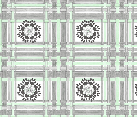 Gray and Green plaid with medallion fabric by debra_may_himes,_asid on Spoonflower - custom fabric