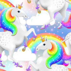 Princess Unicorn Rearing Rainbow Pattern