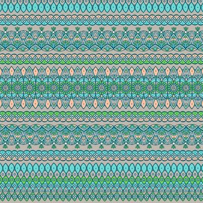 Ornamental stripes - chartreuse, turquoise, peach pink and warm gray
