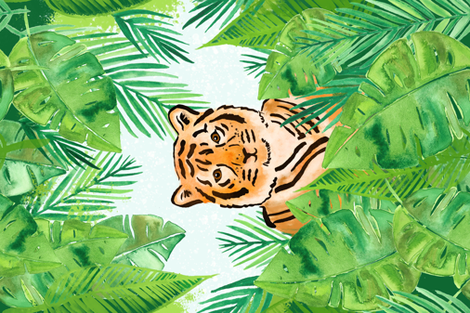 Tiger in the Jungle Tea Towel fabric by revista on Spoonflower - custom fabric