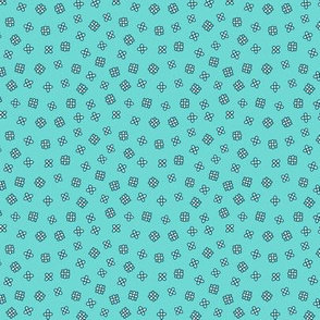 Ditsy scattered flowers on turquoise