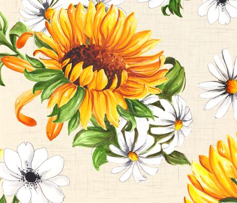 Sunflowers on beige fabric by dorinus_illustrations on Spoonflower - custom fabric