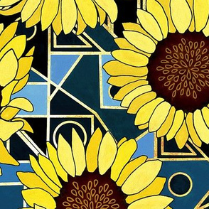Sunflowers & Art Deco Gold, Blue & Navy - Big