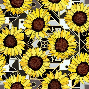 Sunflowers & Art Deco Gold, Black & White Background - Small