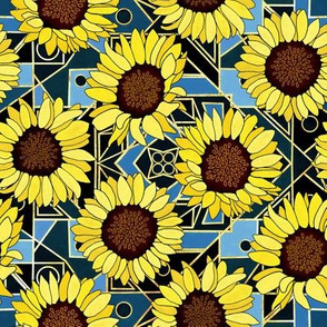 Sunflowers & Art Deco Gold, Blue & Navy - Small