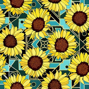 Sunflowers & Art Deco Gold & Teal Background  - Small