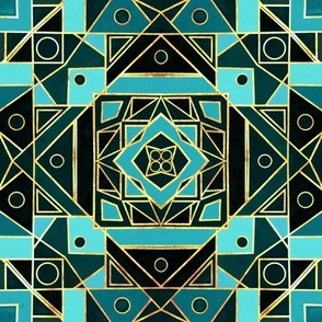 Art Deco Gold & Teal - Small