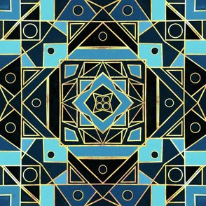 Art Deco Gold & Blue - Small