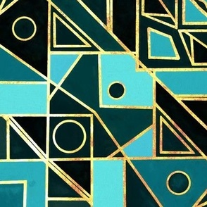 Art Deco Gold & Teal - Big