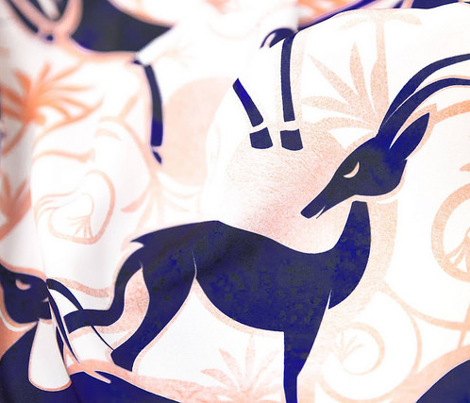 Deco Gazelles Garden // white background navy animals and rose metal textured decorative elements