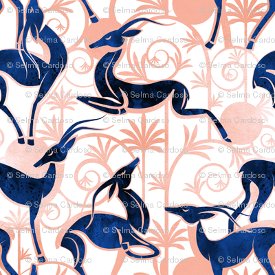 Deco Gazelles Garden // white background navy animals and rose metal textured decorative elements