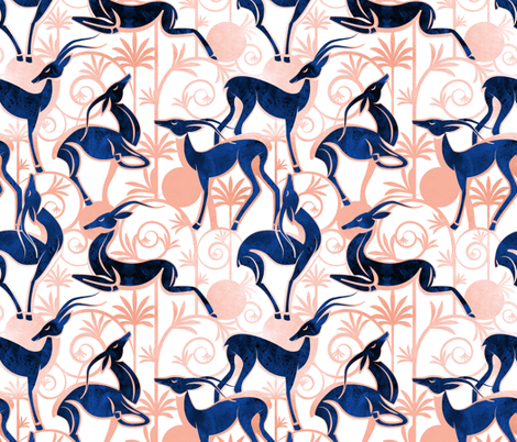 Deco Gazelles Garden // white background navy animals and rose metal textured decorative elements fabric by selmacardoso on Spoonflower - custom fabric