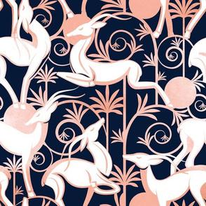 Deco Gazelles Garden // navy background white animals and rose metal textured decorative elements