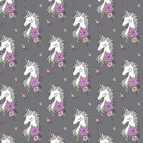 Dreamy Unicorn & Vintage Boho Purple Flowers on Dark Grey Smaller 2 inch