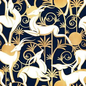 Deco Gazelles Garden // navy background white animals and gold textured decorative elements