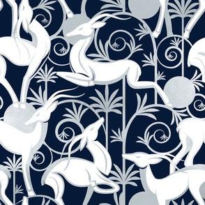 Deco Gazelles Garden // navy background white animals and silver textured decorative elements