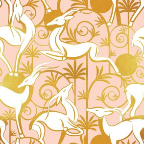 Deco Gazelles Garden // coral background white animals and golden textured decorative elements