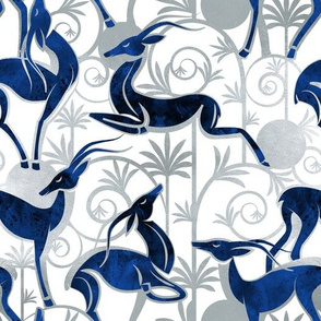 Deco Gazelles Garden // white background navy animals and silver textured decorative elements