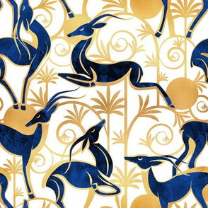 Deco Gazelles Garden // white background navy animals and gold textured decorative elements