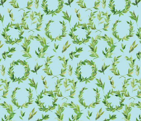 Watercolor Laurel Wreath - Green and baby blue fabric by aliceelettrica on Spoonflower - custom fabric